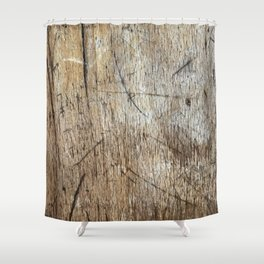 Scratched Wood Shower Curtain
