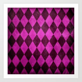 Fuchsia Harlequin Grunge Art Print