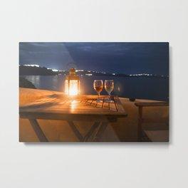 Love in Santorini Metal Print