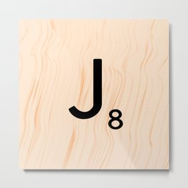 Scrabble Letter J - Large Scrabble Tiles Metal Print