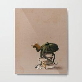 Well-Read Octopus Metal Print