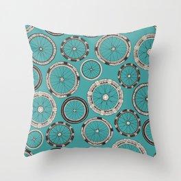 bike wheels turquoise Throw Pillow