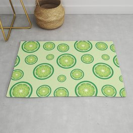 Lime Fruit Slices Green Food Pattern Rug