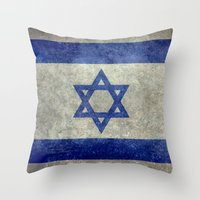 palestine Throw Pillows featuring The National flag of the State of Israel - Distressed worn version by Bruce Stanfield
