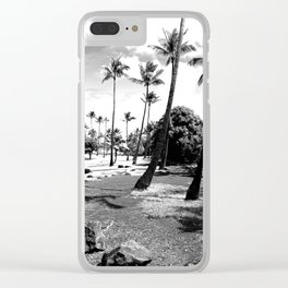 palm tree with cloudy sky in black and white Clear iPhone Case