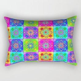 Boho Tapestry Tiles in India Silk Multi Rectangular Pillow
