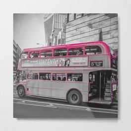London, Double Decker Bus (magenta) Metal Print
