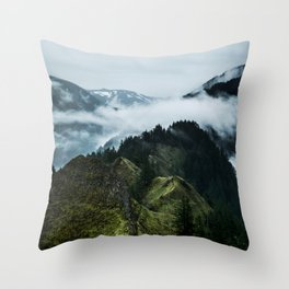 Foggy mountains Throw Pillow