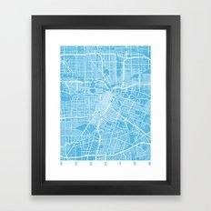Houston map blue Framed Art Print