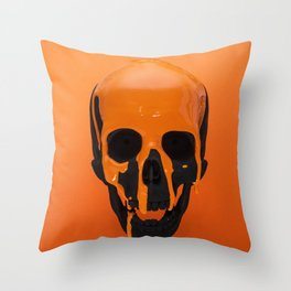 Orange Dripping Skul Throw Pillow