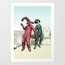 Dancing on the roof Art Print