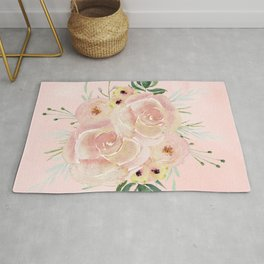 Wild Roses on Seashell Pink Watercolor Rug