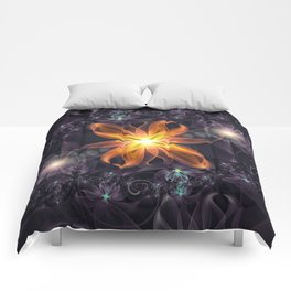 Beautiful Orange Star Lily Fractal Flower at Night Comforters