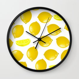 Lemon Pattern Home Decor Wall Hanging Art Print Modern Graphic Design Yellow White Interior Wall Clock