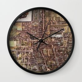Replica city map of The Hague 1649 Wall Clock