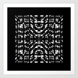 ONYX square black and white prismatic design with black border Art Print