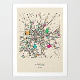 Colorful City Maps: Bruges, Belgium Art Print