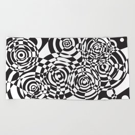 Raindrops 2 Black and White Geometric Painting Beach Towel