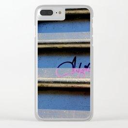 Purple Metallic Tagging Clear iPhone Case
