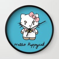 bee and puppycat Wall Clocks featuring Hello Puppycat by Nate Galbraith