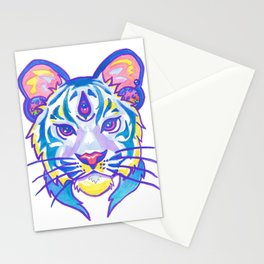clairvoyant pastel tiger Stationery Cards