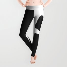 Black And White Minimalist Mid Century Abstract Ink Art Simple Brush Strokes Square Exclamation Mark Leggings