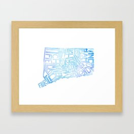 Typographic Connecticut - blue watercolor map Framed Art Print