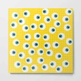 Cute Blue Eyes on Yellow Background Metal Print