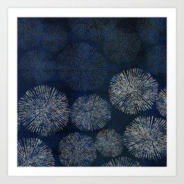 Denim Blue Shibori Sea Urchin Burst Pattern Art Print