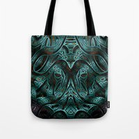 viking Tote Bags featuring Viking by RingWaveArt