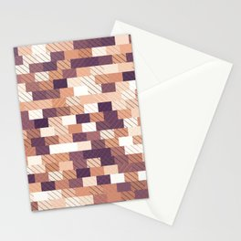 Solid brick wall with diagonal crossed lines, redwod and eggplant colored print Stationery Cards