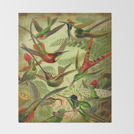 HUMMINGBIRD COLLAGE- Ernst Haeckel Throw Blanket