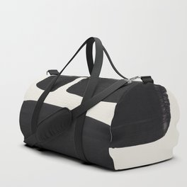 Mid Century Modern Minimalist Abstract Art Brush Strokes Black & White Ink Art Square Shapes Duffle Bag