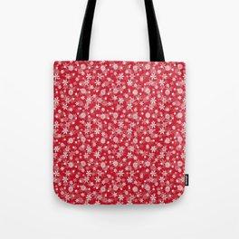 Christmas Red Poinsettia Snow Flakes Tote Bag