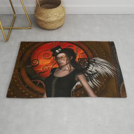 Wonderful steampunk lady with wings and hat Rug