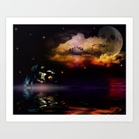 pirate ship Art Prints featuring Pirate Ship by Moon Willow