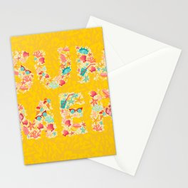 Summer text with summer object pattern. Multicolor vector illustrations isolated on white background Stationery Cards