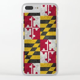 State flag of Flag of Maryland, Vintage retro style Clear iPhone Case