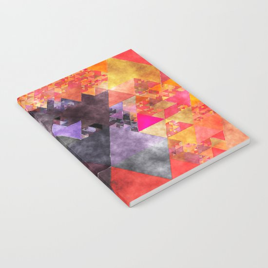 Abstract fire red yellow blue Triangle pattern- Watercolor Illustration Notebook