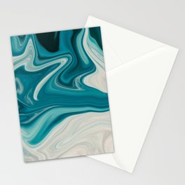 White & Teal Abstract Art Painting Stationery Cards