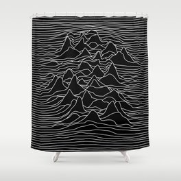 Black and white illustration - sound wave graphic Shower Curtain
