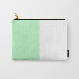 White and Mint Green Vertical Halves Carry-All Pouch