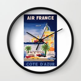 1952 Air France Cote D'Azur Travel Poster Wall Clock