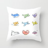 airplanes Throw Pillows featuring Cute Airplanes by Macy Wong