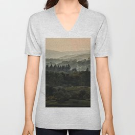 Foggy morning in Lake District Unisex V-Neck