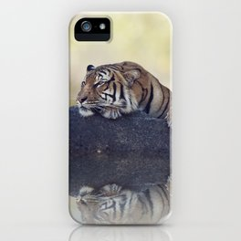 Bengal tiger resting on a rock near pond iPhone Case