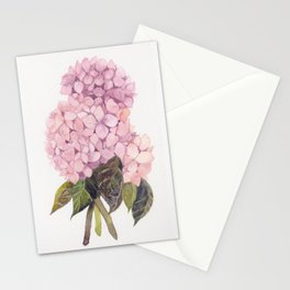 watercolor pink hydrangea Stationery Cards