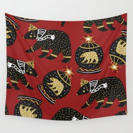 Funky Black Bear Gold White Winter Pattern Wall Tapestry