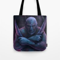 thanos Tote Bags featuring Drax and Thanos by Jaime Gervais