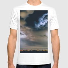 Lightning #clouds MEDIUM White Mens Fitted Tee